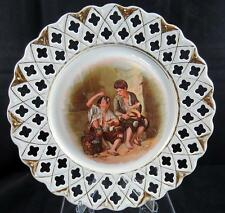 "GERMAN PORCELAIN BEGGAR BOYS EATING GRAPES & MELONS MURILLO 10"" PIERCED PLATE"
