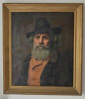 John Myers (British 19th Century) Oil on Canvas Old Bearded Man with a Black Hat