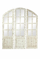 Zimlay White Wood 3-Panel Arched Wall Mirror With Window Frame 89389