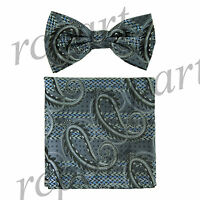 Men's Pre-tied Bow Tie & hankie set paisley black gray wedding party prom