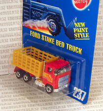 """RAPID DELIVERY"" FORD STAKE BED TRUCK RED YELLOW #237 BLUE CARD HOT WHEELS"