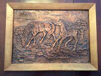 Vintage Primitive  Horse Filly Hammered Embossed Copper Picture Wall Art Framed