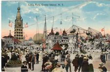 Early Coney Island Luna Park Rides Gyroplane Whip Amusement Park NYC NY !