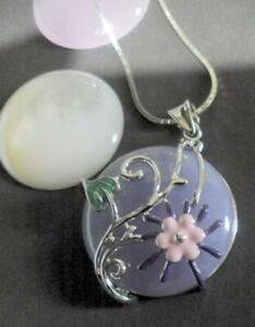Silver 925 Pendant with Interchangeable Pink, Lilac and Pearl Insets 12656