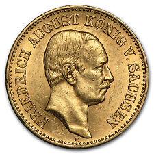 1905-1914 Germany Gold 20 Mark Saxony Friedrich August Avg Circ - SKU #91364