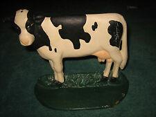 CERAMIC BLACK & WHITE COW FIGURINE STATUE STANDING ON GREEN GRASS  BASE~SO CUTE~