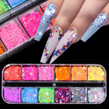 Fluorescent Nail Art Sequins Flakes Holographics Butterfly Nail Decal Decoration