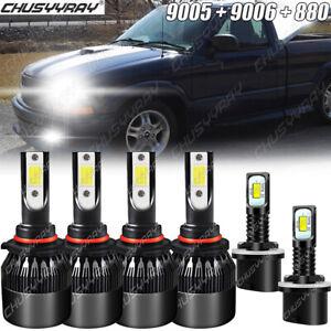 For Chevrolet S10 1998 1999-2002 2003 LED Headlight Hi/Lo Beam + Fog Light Bulbs