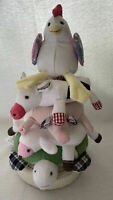 POTTERY BARN KIDS Fun On The Farm Animal Stacker Baby Toy Rings Hen Cow Lamb Pig