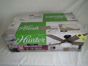 """Hunter Avia II 52"""" LED Ceiling Fan 59593 w/Remote Matte Black Finish"""