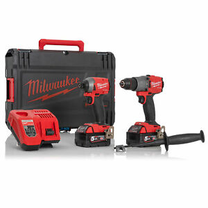 Milwaukee M18FPP2A2-502X M18 18V Cordless Combi Drill and Impact Driver with Bat