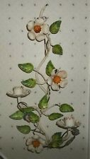 ANTIQUE ITALIAN FLORAL TOLE IRON two CANDLE WALL SCONCE CANDLEHOLDER