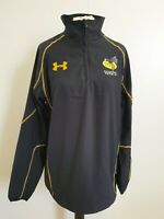 C209 MENS UNDER ARMOUR WASPS 1/4 ZIP BLACK STRETCH PULLOVER RUGBY TOP UK M EU 50