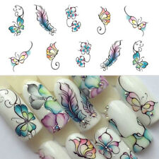 3 Sheets Flower Butterfly Nail Art Water Transfer Decals Stickers Tips Decor DIY