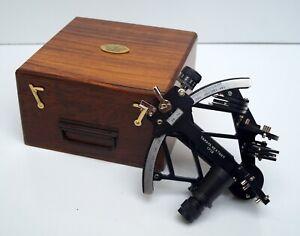 Vintage tamaya nautical sextant with wooden box maritime navigational instrument