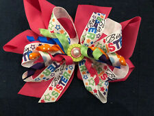 """New Huge 6� Custom Boutique Stacked Hairbow """"Big Sister� Pink Ribbon Bow"""