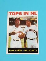 Willie Mays Hank Aaron Giants Braves 1964 Topps #423 Tops in NL EXMT