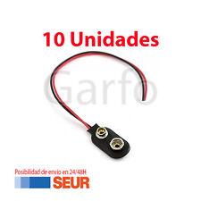 10X Conector Soporte con Cable de 12cm para Pila de 9V Clip de bateria