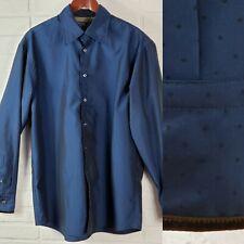 Replay Italy Mens Button Down Shirt Long Sleeve Polka Dot Blue Brown Velvet Trim