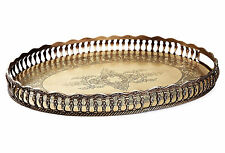 "TRAYS - ""SANDRINGHAM"" OVAL GALLERY TRAY - ANTIQUE BRASS"