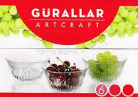 6pc Set of Glass Bowls Dessert Dishes Ice Cream Sundae Fruit Trifle 205ml ARG62