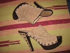 WOMENS 6 M TAUPE SUEDE LEATHER STUDDED HIGH HEEL STILETTO SHOES GWVICTORIAN