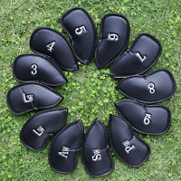 12 PCS PU Leather Golf Iron Head Covers Club Putter Headcovers 3-SW Set Black US