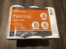 """Office Depot Thermal Paper 6 Rolls 2 1/4"""" x 165' White Pack Of 6 - 2.25"""" x 165'"""