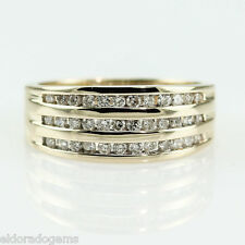 1.00 CT. SI 3ROW PAVE CHANNEL SET DIAMOND WEDDING RING BAND 14K YELLOW GOLD 6.5