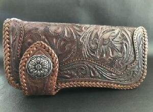 Biker Wallet brown leather in the Sheridan style and a Floral concho Harley