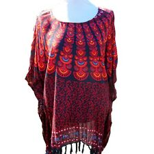 Orange Black Peacock Print Poncho Tunic Top One Size Rayon Beach Cover up