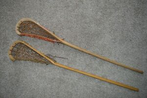 Vintage Mohawk / CCM Native Indian Wooden Lacrosse Stick Lot (2)
