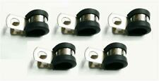 5x Marine Grade Stainless Steel Rubber-Lined P-Clip 10mm Hose Pipe Clamp M6 Hole