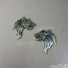 Pair Bronze Wolf Head Metal Emblem Sticker Badge Decal Side Rear Logo Car Auto