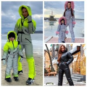 Ski Suit Reflective Neon Grey Yellow Leather Black Snow Overall Warm Winter Fur