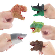 5pcs Realistic Dinosaur Finger Puppets Animal Doll Head Vinyl Rubber Kids Toy