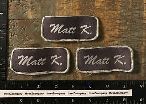 Lot Of 3 Matt K. Name Tag Patches Badges Purple/Gray