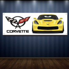 Corvette 1' X 3' Garage Banner, 13oz Vinyl - FREE SHIPPING Chevy Vette 2017 New