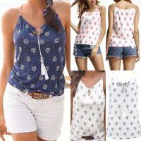 Boho Women Summer Vest Tops Blouse Ladies V Neck Sleeveless T-Shirt Plus Size