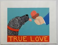 "STEPHEN HUNECK  - SIGNED LTD ED - WOODCUT PRINT - ""TRUE LOVE"" - DOG - FOLK ART"