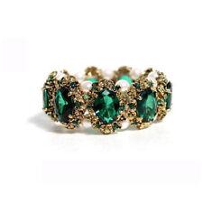 Gold Bronze Emerald Green Crystal Rhinestones Vintage Style Bangle Bracelet