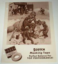 VTG 1940s LAWSON WOOD 3M SCOTCH TAPE LITHOGRAPH PRINT AD MONKEY FISHING