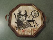 Vtg Silhouette Dried Flowers Octagon Tray Hanging Colonial Woman Spinning Wheel