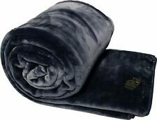 Solaron Twin Size Blanket Thick Ultra Fine Polyester Mink Plush Solid Navy Blue