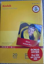 "NEW 2 PACKS OF 20 SHEETS KODAK PREMIUM GLOSS 6 x 4 "" PHOTO PAPER 240GSM"