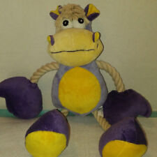 Plush Purple/ Yellow Cow Rope Leg Dog New Toy- 18 inches