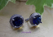 Round design White Gold plated Jewelry Blue Cubic Zirconia Hoop Earrings