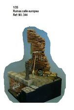 WWII Section ruined street with stairs 1/35 Resina diorama