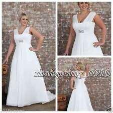 White Ivory Chiffon Plus Size Wedding Dress Bridal Gown Custom 16 18 20 22 24 26