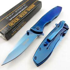 New! Tac-Force Blue Mirror Finish Spring-Assist Folding Edc Pocket Knife